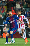 Lionel Andres Messi (l) of FC Barcelona is followed by Alaixys Romao of Olympiacos FC during the UEFA Champions League 2017-18 match between FC Barcelona and Olympiacos FC at Camp Nou on 18 October 2017 in Barcelona, Spain. Photo by Vicens Gimenez / Power Sport Images