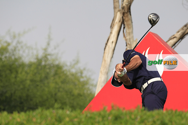 Gary Stal (FRA) tees off the 11th tee during Sunday's Final Round of the Abu Dhabi HSBC Golf Championship 2015 held at the Abu Dhabi Golf Course, United Arab Emirates. 18th January 2015.<br /> Picture: Eoin Clarke www.golffile.ie