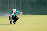 Justin Rose (ENG) on the 18th green during the 3rd round at the WGC HSBC Champions 2018, Sheshan Golf CLub, Shanghai, China. 27/10/2018.<br /> Picture Fran Caffrey / Golffile.ie<br /> <br /> All photo usage must carry mandatory copyright credit (&copy; Golffile | Fran Caffrey)