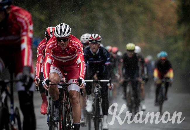 Mads Pedersen (DEN/Trek-Segafredo) surprises the cycling world by becoming the 2019 UCI World Champion<br /> <br /> Elite Men Road Race from Leeds to Harrogate (shortened to 262km)<br /> 2019 UCI Road World Championships Yorkshire (GBR)<br /> <br /> ©kramon