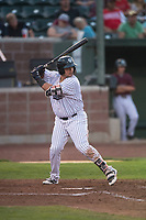 Idaho Falls Chukars designated hitter Chase Vallot (44) at bat during a Pioneer League game against the Great Falls Voyagers at Melaleuca Field on August 18, 2018 in Idaho Falls, Idaho. The Idaho Falls Chukars defeated the Great Falls Voyagers by a score of 6-5. (Zachary Lucy/Four Seam Images)