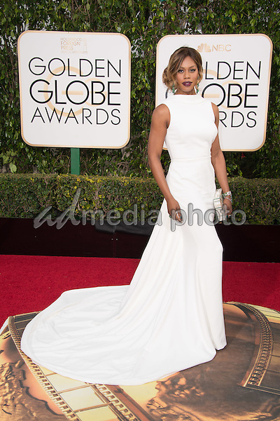 """Laverne Cox, actress from the Golden Globe nominated series """"Orange Is The New Black"""" (NETFLIX), arrives at the 73rd Annual Golden Globe Awards at the Beverly Hilton in Beverly Hills, CA on Sunday, January 10, 2016. Photo Credit: HFPA/AdMedia"""