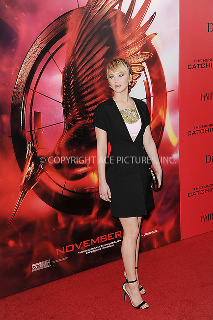 WWW.ACEPIXS.COM<br /> November 20, 2013...New York City<br /> <br /> Jennifer Lawrence attending a premiere of 'The Hunger Games: Catching Fire' on November 20, 2013 in New York City.<br /> <br /> Byline: Kristin Callahan/Ace Pictures<br /> <br /> ACE Pictures, Inc.<br /> tel: 646 769 0430<br />       212 243 8787<br /> e-mail: info@acepixs.com<br /> web: http://www.acepixs.com