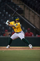 AZL Athletics third baseman Cobie Vance (16) at bat during an Arizona League game against the AZL Angels at Tempe Diablo Stadium on June 26, 2018 in Tempe, Arizona. The AZL Athletics defeated the AZL Angels 7-1. (Zachary Lucy/Four Seam Images)