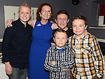 Mary McHugh celebrating her 60th birthday in the Fishermans Wharf with nephews Cathal McHugh, Jack, Andrew and Matthew McFadden. Photo:Colin Bell/pressphotos.ie
