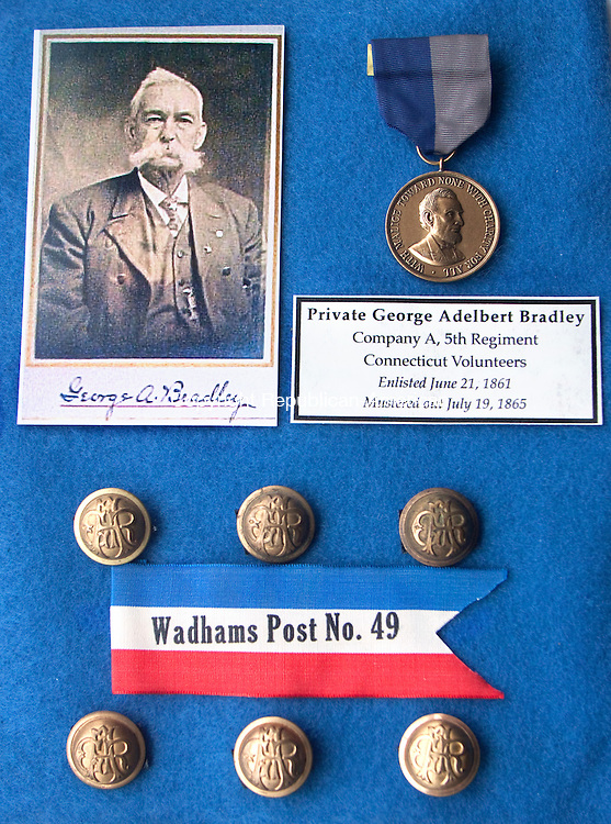 WATERBURY CT- APRIL 08 2015 040815DA01- Peter J. Hopson of Middlebury has memorabilia of an era of when his great-great grandfathers met when one rescued the other from a Confederate prison camp.<br /> Darlene Douty Republican American