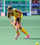 The Hague, Netherlands, June 05: Anna Flanagan #9 of Australia passes the ball during the field hockey group match (Women - Group A) between Belgium and Australia on June 5, 2014 during the World Cup 2014 at Kyocera Stadium in The Hague, Netherlands. Final score 2:3 (1:1) (Photo by Dirk Markgraf / www.265-images.com) *** Local caption ***