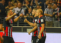 celebrate the goal, Torjubel zum 1:0 Ante Rebic (Eintracht Frankfurt), Filip Kostic (Eintracht Frankfurt), Sebastian Rode (Eintracht Frankfurt) - 29.08.2019: Eintracht Frankfurt vs. Racing Straßburg, UEFA Europa League, Qualifikation, Commerzbank Arena<br /> DISCLAIMER: DFL regulations prohibit any use of photographs as image sequences and/or quasi-video.