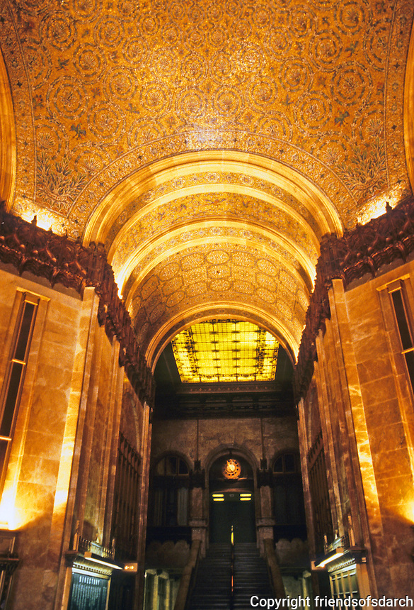 New York: Woolworth Building--Lobby. 233 Broadway, Architect Cass Gilbert, 1910. Gothic style skyscraper. National Historic Landmark 1966. Photo '91.