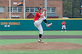 """Pitcher Tayler Stiles throws a pitch during Maryland's 6-2 loss to the University of Michigan on Mar. 26, 2017 at Bob """"Turtle"""" Smith Stadium.  (Marquise McKine/The Diamondback)"""