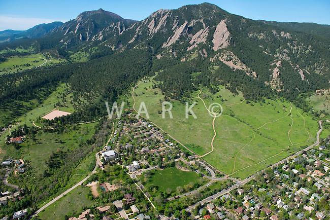 Chautauqua park and Flatirons. Boulder, Colorado aerial. May 2013  88021