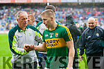 Mikey Sheehy Selector and Peter Crowley, Kerry players after defeating Tyrone in the All Ireland Semi Final at Croke Park on Sunday.