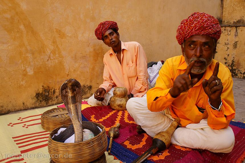 musicians with cobra snake in basket inside Fort Amber near Jaipur, Rajastan, India. The musicians just take a break to explain habits of cobra snake.