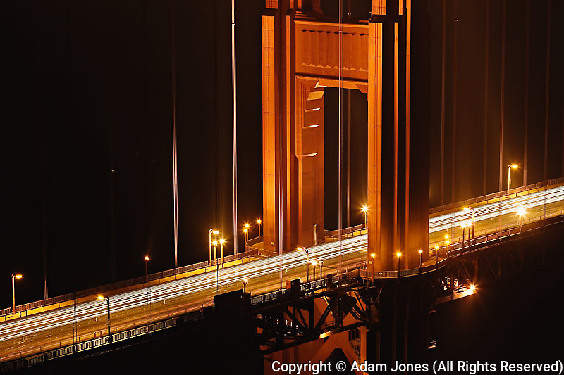 Section of Golden Gate Bridge at night, San Francisco, California