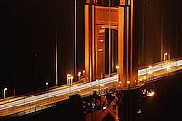 Section of Golden Gate Bridge at night, San Francisco, California