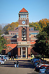 Students head to class in front of Paris-Yates Chapel/Peddle Tower. Photo by Robert Jordan/Ole Miss Communications