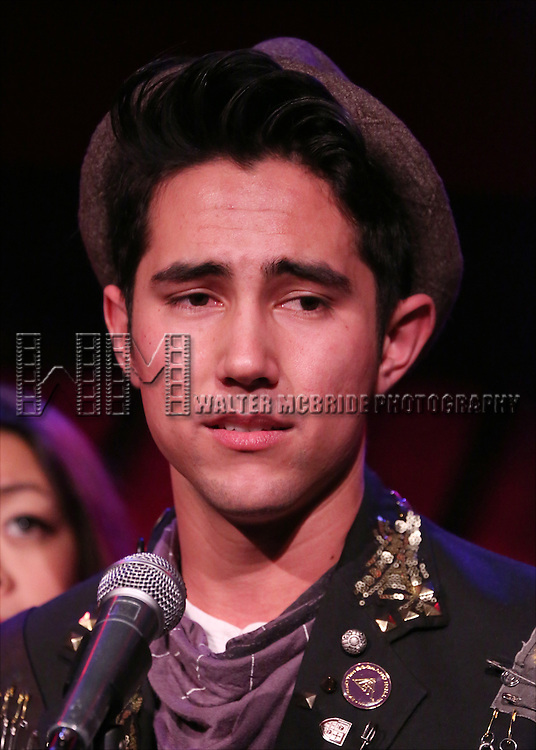 Marco Ramos from the cast of 'One Day - The Musical' performing a sneak peek of the new pop-rock Musical at Rockwood Music Hall on January 28, 2015 in New York City.