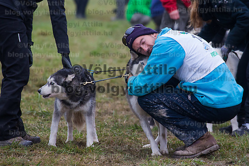 Competitor hugs a dog during the FISTC Dog Cart European Championships in Venek (about 136 km Norht-West of capital city Budapest), Hungary on November 22, 2014. ATTILA VOLGYI