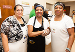 WATERBURY,  CT-041919JS08- Charlotte Williams, Derri Hamilton and Sharon Mulley, at the annual Good Friday fish fry held at Grace Baptist Church in Waterbury. <br />  Jim Shannon Republican American