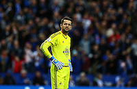 Lukasz Fabianski of Swansea City shows a look of dejection during the Barclays Premier League match between Leicester City and Swansea City played at The King Power Stadium, Leicester on 24th April 2016