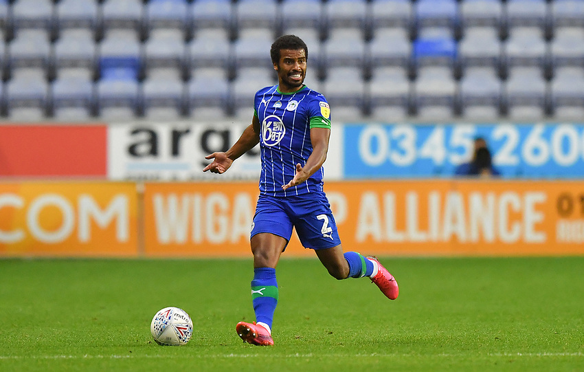 Wigan Athletic's Nathan Byrne<br /> <br /> Photographer Dave Howarth/CameraSport<br /> <br /> The EFL Sky Bet Championship - Wigan Athletic v Fulham - Wednesday July 22nd 2020 - DW Stadium - Wigan<br /> <br /> World Copyright © 2020 CameraSport. All rights reserved. 43 Linden Ave. Countesthorpe. Leicester. England. LE8 5PG - Tel: +44 (0) 116 277 4147 - admin@camerasport.com - www.camerasport.com