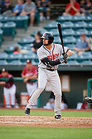 Richmond Flying Squirrels third baseman Dillon Dobson (28) at bat during a game against the Altoona Curve on May 15, 2018 at Peoples Natural Gas Field in Altoona, Pennsylvania.  Altoona defeated Richmond 5-1.  (Mike Janes/Four Seam Images)