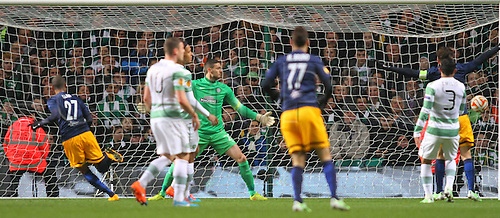 27.11.2014. Glasgow, Scotland. Europa League Group Stages Qualifying Round. Celtic versus FC Red Bull Salzburg.Alan opens the scoring for Red Bull Salzburg