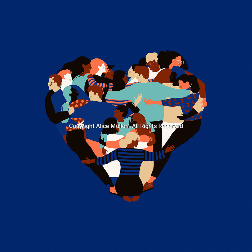 Lots of people hugging to form heart shape