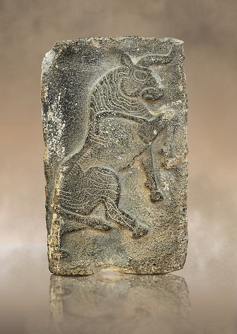 9th century BC stone Neo-Hittite/ Aramaean Orthostats from Palace Temple of the Aramaean city of Tell Halaf in northeastern Syria close to the Turkish border. The Orthostats are in a Neo Hittite style and depict a mythical Bull. Pergamon Museum, Berlin