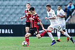 FC Seoul Midfielder Ju Se Jong (l) is chased by Auckland City Midfielder Fabrizio Tavano (r) during the 2017 Lunar New Year Cup match between Auckland City FC (NZL) and FC Seoul ((KOR) on January 28, 2017 in Hong Kong, Hong Kong. Photo by Marcio Rodrigo Machado/Power Sport Images