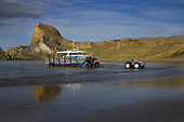 Fishing boat being launched at Castlepoint