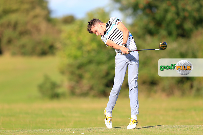 Brian McGuinness (Claremorris) on the 18th tee during the first round of the Irish U16 Championship at The Heath Golf Club, Portlaoise, Co Laois  Ireland.  19/08/2015.<br /> Picture: Golffile | Fran Caffrey<br /> <br /> <br /> All photo usage must carry mandatory copyright credit (&copy; Golffile | Fran Caffrey)