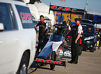 Jun 1, 2018; Joliet, IL, USA; Crew members for NHRA top fuel driver Billy Torrence during qualifying for the Route 66 Nationals at Route 66 Raceway. Mandatory Credit: Mark J. Rebilas-USA TODAY Sports