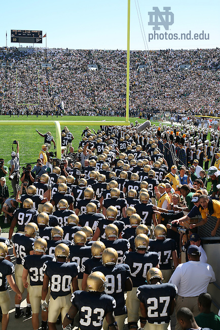 The Notre Dame Football team takes the field against Michigan State, Sept. 22, 2007.<br /> <br /> Photo by Matt Cashore/University of Notre Dame
