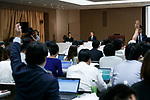 Journalists raise their hands to ask questions during a news conference given by Toshiba Corp. President Satoshi Tsunakawa at the company headquarters on August 10, 2017, Tokyo, Japan. Tsunakawa reported approximate 965.7 billion yen ($8.8 billion)loss for itsFiscal Year 2016 to March 31, 2017. Toshiba avoided being delisted from Tokyo Stock Exchange by announcing its delayed financial results. (Photo by Rodrigo Reyes Marin/AFLO)