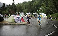 Jakob Fuglsang (DEN/Astana) up the Plateau de Beille in 2nd position<br /> <br /> stage 12: Lannemezan - Plateau de Beille (195km)<br /> 2015 Tour de France
