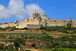 View of walled city of Mdina,  Malta dome of Saint Paul's cathedral under scaffolding