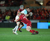29th September 2017, Parc y Scarlets, Llanelli, Wales; Guinness Pro14 Rugby, Scarlets versus Connacht; Jonathan Davies and Dylan Evans of Scarlets combine for a joint tackle