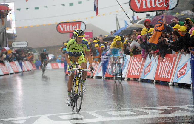 Alberto Contador (ESP) Tinkoff-Saxo crosses the line in 2nd place at the end of Stage 8 of the 2014 Tour de France running 161km from Tomblaine to Gerardmer La Mauselaine. 12th July 2014.<br /> Photo ASO/B.Bade/www.newsfile.ie