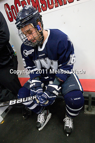 John Henrion (UNH - 16) - The Harvard University Crimson defeated the University of New Hampshire Wildcats 7-6 on Tuesday, November 22, 2011, at Bright Hockey Center in Cambridge, Massachusetts.