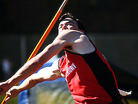 Canterbury's Tim McKee competes in the men's javelin during day two of the National athletics championships at Newtown Park, Wellington, New Zealand on Saturday, 28 March 2009. Photo: Dave Lintott / lintottphoto.co.nz