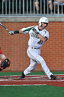Third baseman Derek Gallelo (41) of the Charlotte 49ers bats in a game against the Fairfield Stags on Saturday, March 12, 2016, at Hayes Stadium in Charlotte, North Carolina. (Tom Priddy/Four Seam Images)