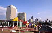 Atlanta Georgia skyline and the Varsity Restaurant at Georgia Tech University, Atlanta, USA