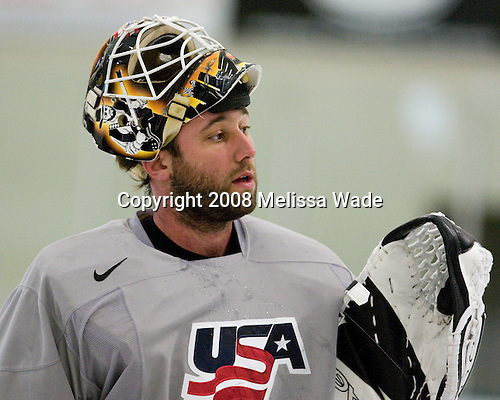 "Robert Esche (USA 34 - Ak Bars Kazan/Plymouth-Detroit Whalers) - Team USA practiced and then held a skate with the fans to benefit ""Opportunity Skate"" at the Family Ice Center in Falmouth, Maine on Saturday, April 26, 2008."