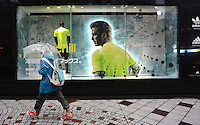 David Beckham on an advert for Adidas,  Shibuya, Tokyo Japan. <br /> April-2014