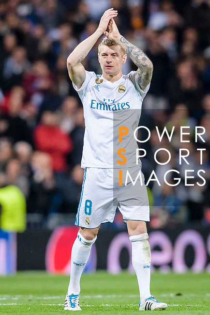Toni Kroos of Real Madrid celebrates his side going through to the Semi-Finals of the UEFA Champions League after the UEFA Champions League 2017-18 quarter-finals (2nd leg) match between Real Madrid and Juventus at Estadio Santiago Bernabeu on 11 April 2018 in Madrid, Spain. Photo by Diego Souto / Power Sport Images