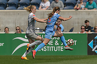 Bridgeview, IL - Saturday May 27, 2017: Samantha Mewis, Katie Naughton during a regular season National Women's Soccer League (NWSL) match between the Chicago Red Stars and the North Carolina Courage at Toyota Park. The Red Stars won 3-2.