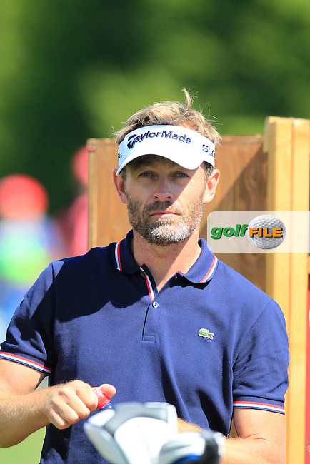 Raphael JACQUELIN (FRA) waits to tee off the 14th tee during Saturday's Round 3 of the 2014 Omega European Masters held at the Crans Montana Golf Club, Crans-sur-Sierre, Switzerland.: Picture Eoin Clarke, www.golffile.ie: 6th September 2014