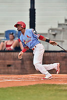 Johnson City Cardinals shortstop Allen Cordoba (50) swings at a pitch during a game against the Danville Braves at Howard Johnson Field at Cardinal Park on July 26, 2016 in Johnson City, Tennessee. The Braves defeated the Cardinals 10-8. (Tony Farlow/Four Seam Images)