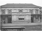 Track side view, part of central portion.  Brick and masonry station building.<br /> D&amp;RGW  Grand Junction, CO  Taken by Mollette, Erskine (Rex)